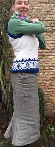 handsewn skirt flare goblet shape handknitted vest