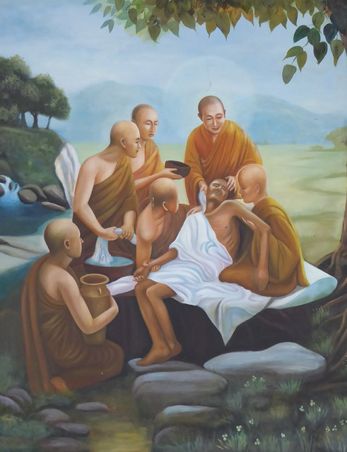 This painting in a TTDHC clinic reflects the spirit of the monastics who attend to the sick with compassion and kindness.