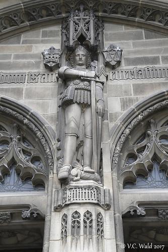 St. Michael over the doors, Rockefeller Memorial Chapel