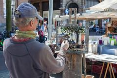 Amsterdam - Peintre sur le march� du Spui