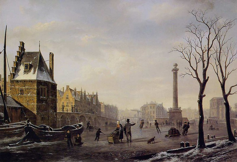 Winter skating on the main canal of Pompenburg, Rotterdam in 1825