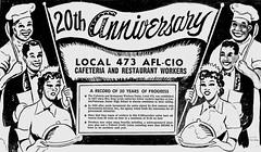DC cafeteria union's 20th anniversary: 1958