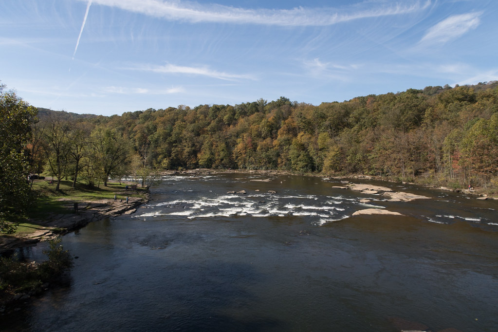 View of the Youghiogheny River from the pedestrian overpass at Ohiopyle