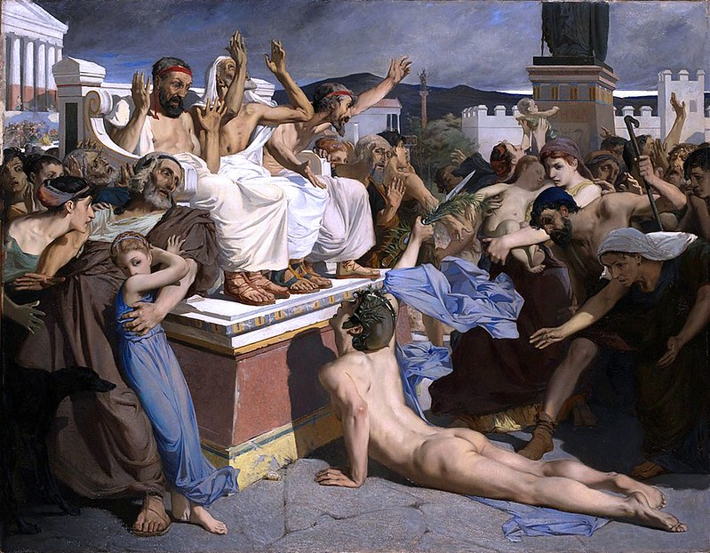 Pheidippides, a greek sportsman, gives word of victory after the Battle of Marathon