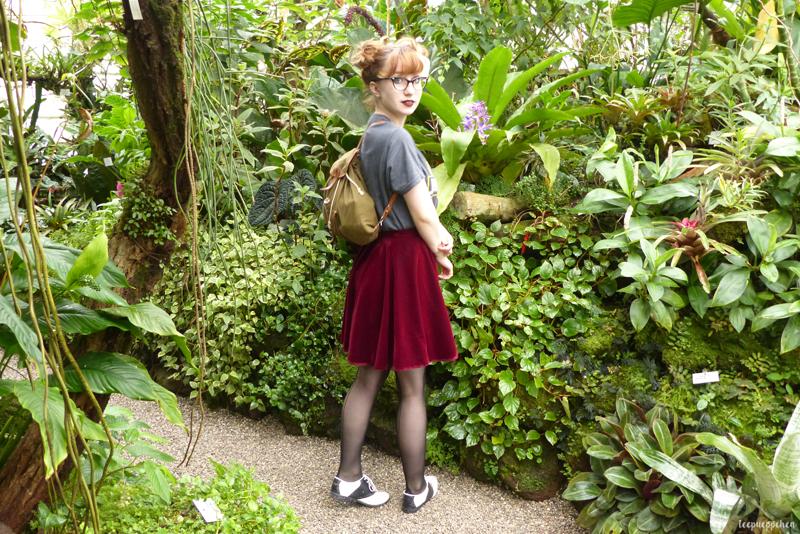 jurassic park outfit vintage inspired midcentury fifties handmade botanical garden dinosaur velvet vintage camera