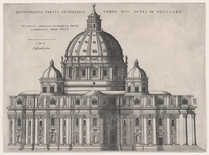 Michelangelo Buonarroti`s sketch of of St. Peter`s Basilica