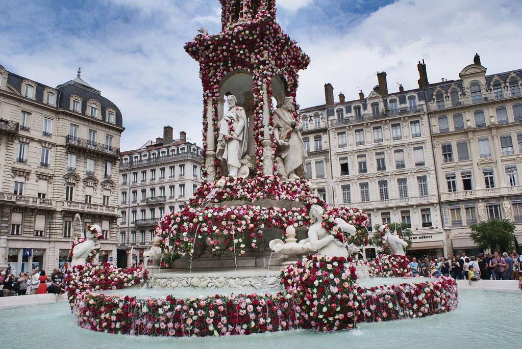 Fontaine des Jacobins décorée de roses lors du festival de la rose à Lyon.