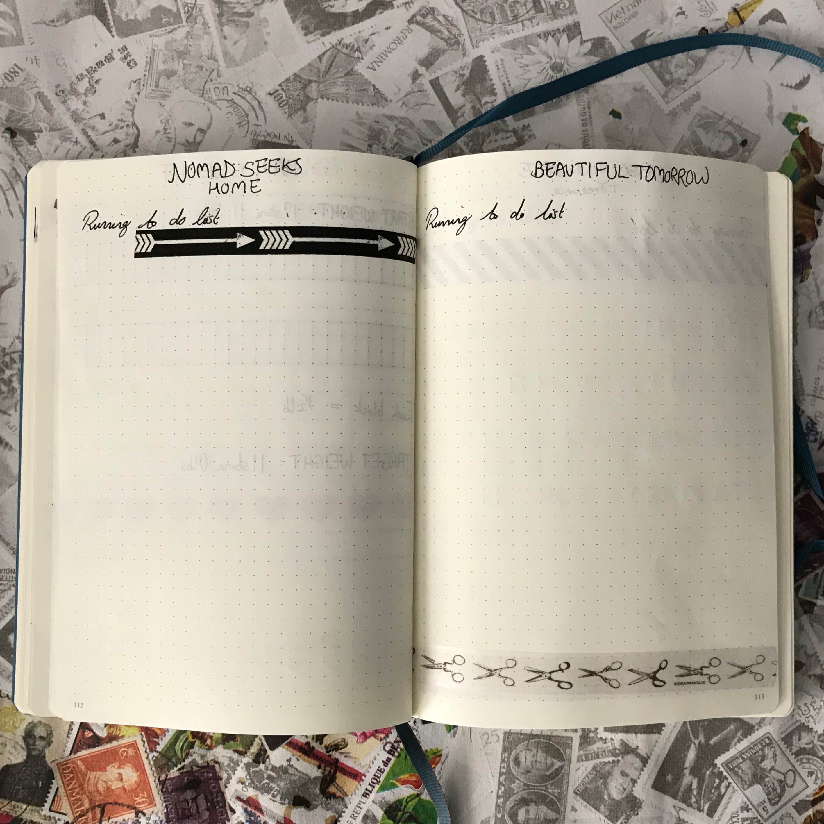 bullet journal setup - blog & shop to do lists