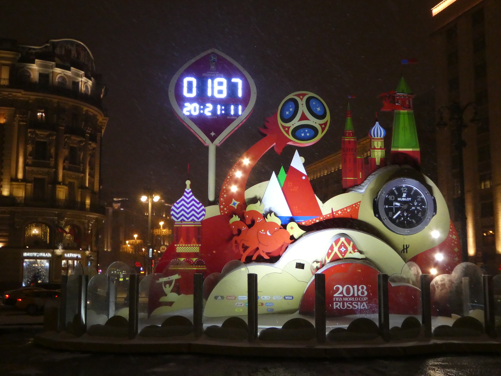The countdown clock for the 2018 FIFA World Cup, Red Square, Moscow