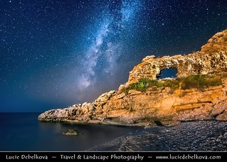 Albania - Dhërmi - Rocky Arch - Night sky with stars & Milky Way