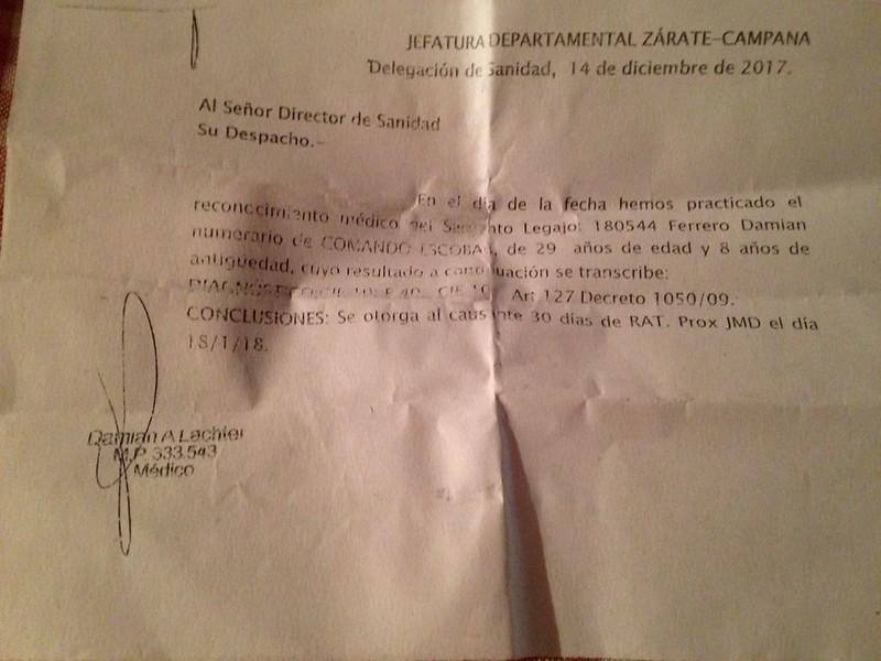 Certificado médico Damián Ferrero
