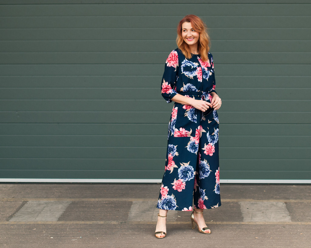 Winter to spring transitional outfit - Blue and pink floral wide leg jumpsuit   Not Dressed As Lamb, over 40 style