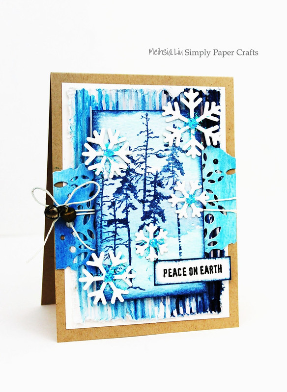 Meihsia Liu Simply Paper Crafts Mixed Media Card Winter Blues Simon Says Stamp Tim Holtz 2