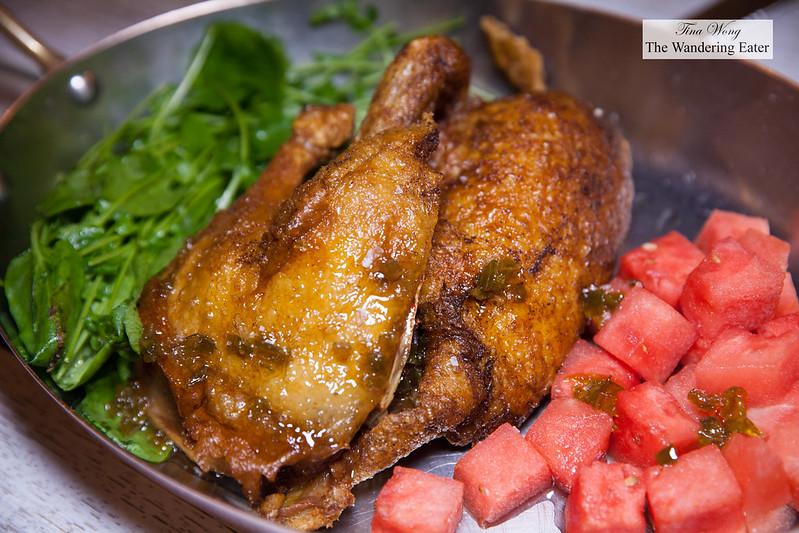 Dry aged roast duck, pepper watermelon preserves, watercress