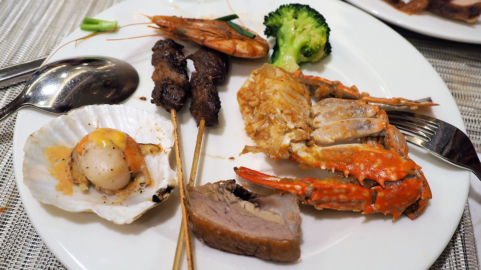 My buffet plate. Scallop, roasted duck, chili soft-shell crab, satay, prawn and broccoli