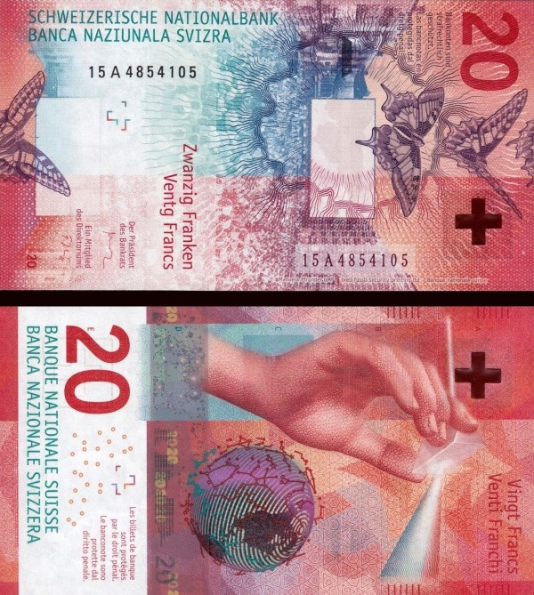 20 Frankov Švajčiarsko 2015(2017)