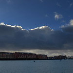 Cloudy skies over Preston Docks