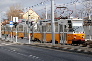 Triple set of T5C5 tramcars on Route 14M headed by No 4018