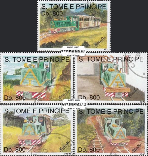 Známky Svätý Tomáš 1993 Železnice, razítkovaná séria