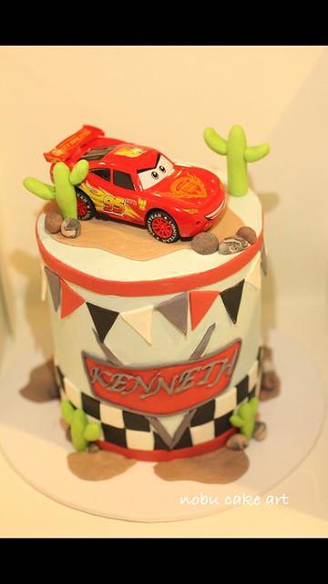 Cars Lightning McQueen Theme Cake by Nobu cake art