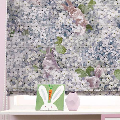 花叢戲兔(獨家) 兔子 花園花卉 防光(遮光)窗簾布 DA1990035