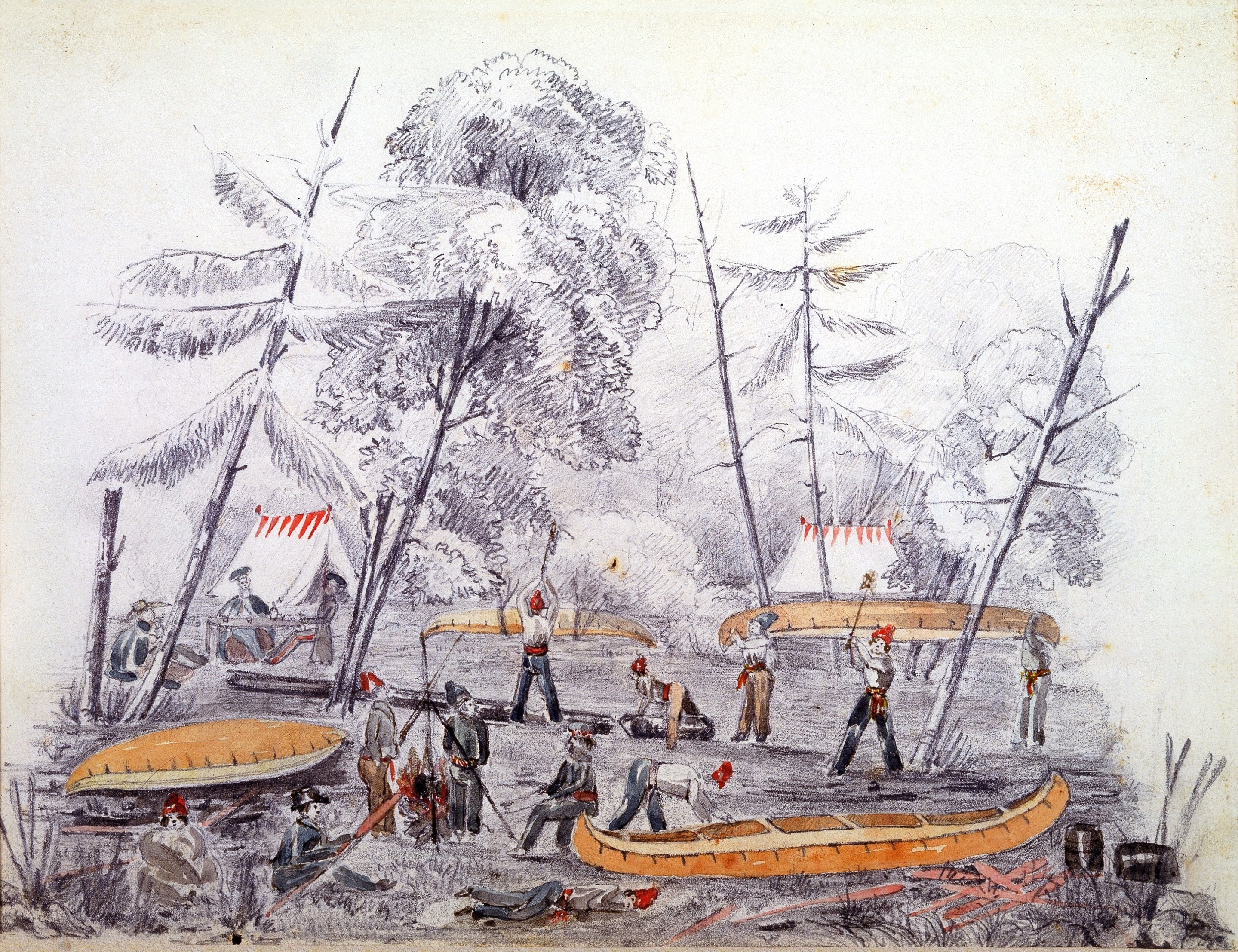 The first military camp set up on the south side of the Ottawa River in 1826. The camp was a waystation for soldiers and labourers of the Rideau Canal until a larger housing plan was created.