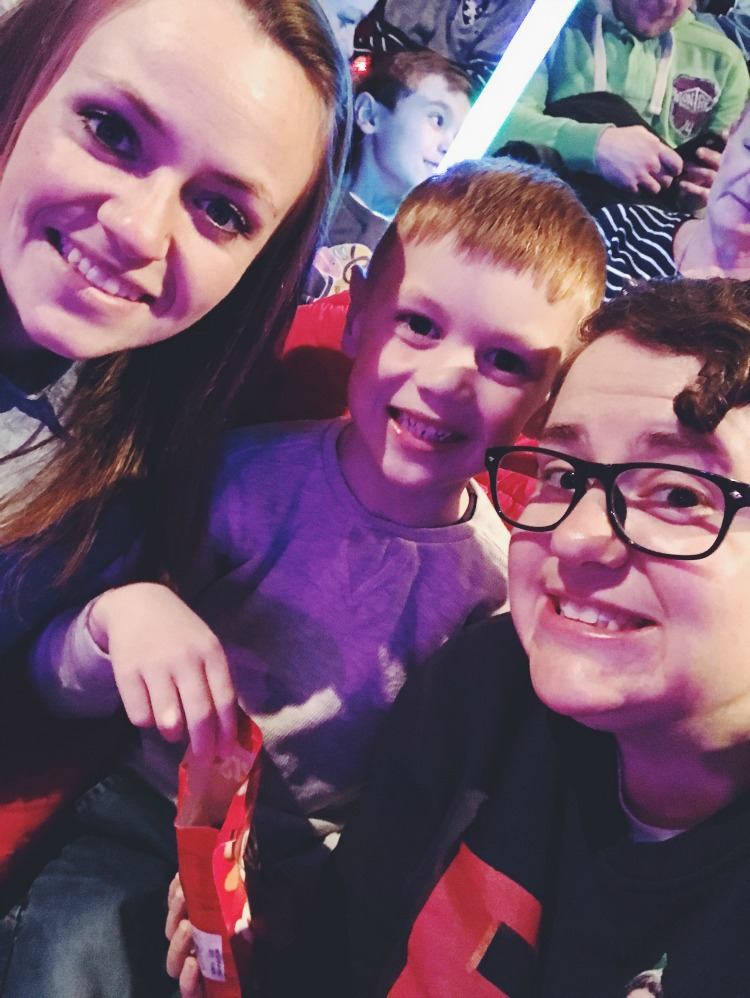family smiles at panto