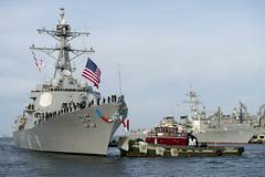 U.S. Navy destroyer returns home from deployment.