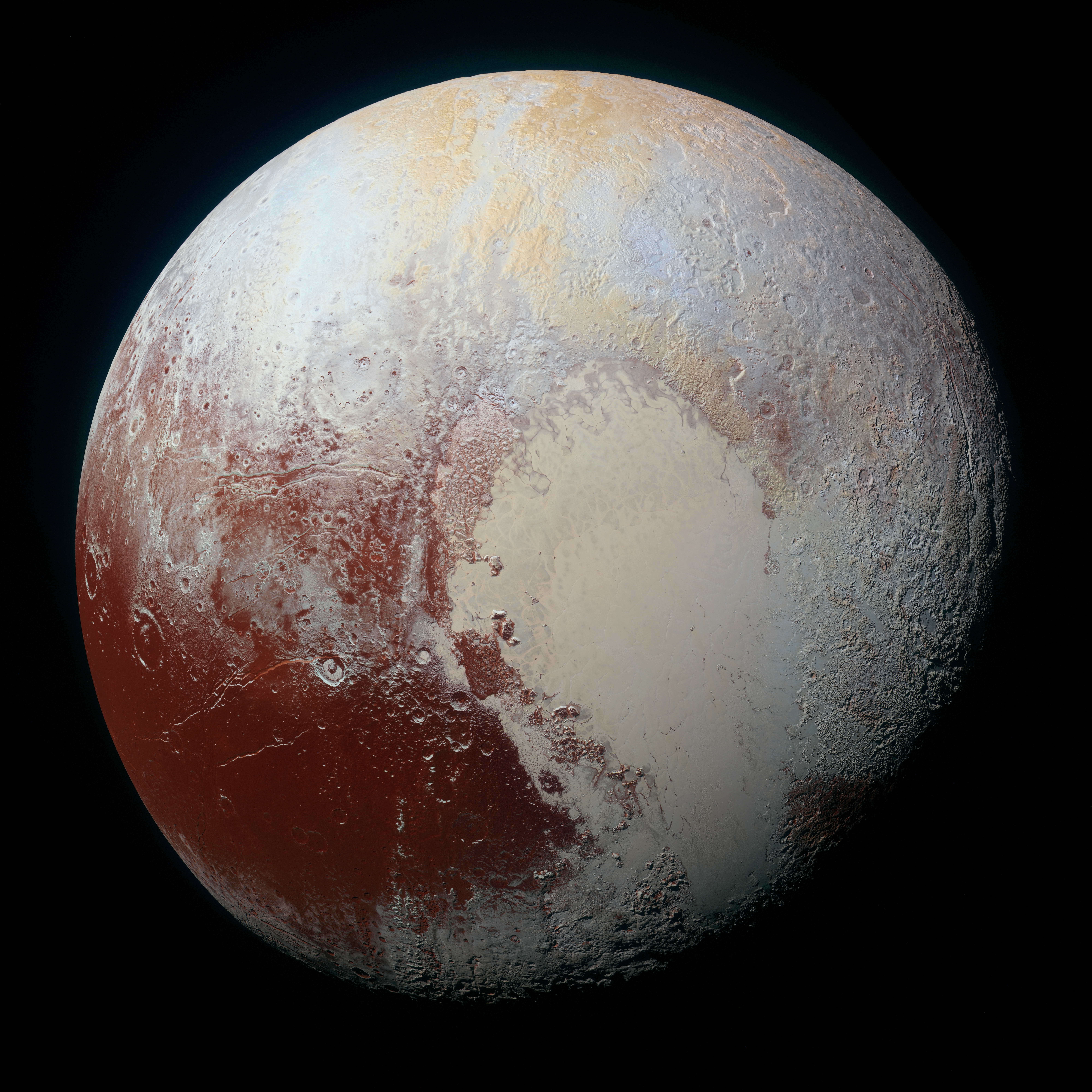 NASA's New Horizons spacecraft captured this high-resolution enhanced color view of Pluto on July 14, 2015. The image combines blue, red and infrared images taken by the Ralph/Multispectral Visual Imaging Camera (MVIC). Pluto's surface sports a remarkable range of subtle colors, enhanced in this view to a rainbow of pale blues, yellows, oranges, and deep reds. Many landforms have their own distinct colors, telling a complex geological and climatological story that scientists have only just begun to decode. The image resolves details and colors on scales as small as 0.8 miles (1.3 kilometers). The viewer is encouraged to zoom in on the image on a larger screen to fully appreciate the complexity of Pluto's surface features.