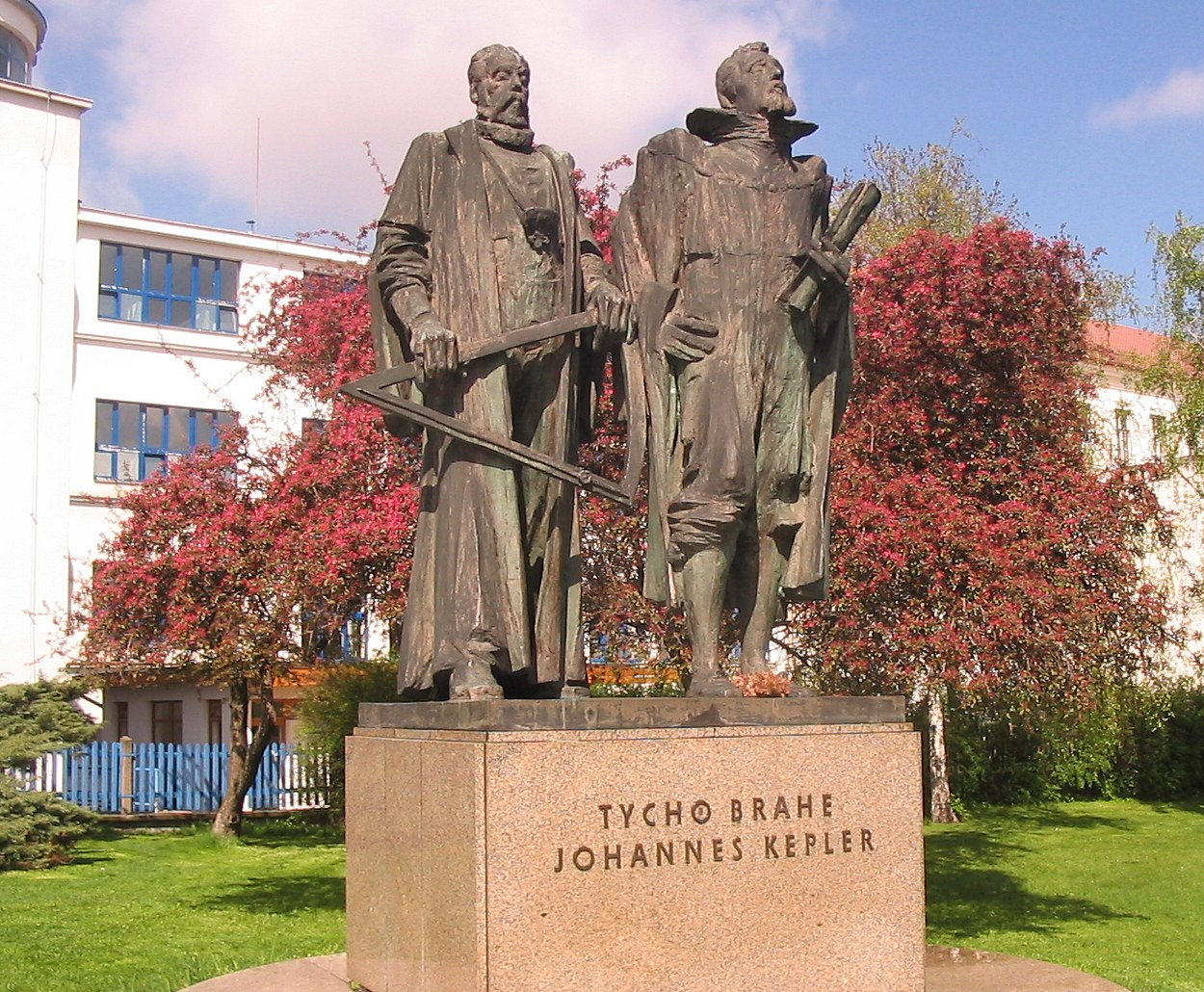 Monument to Tycho Brahe and Johannes Kepler in Prague, Czech Republic. Photo taken on April 30, 2006.