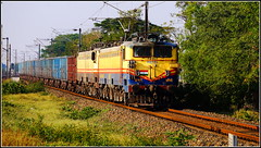 Twin Jhansi WAG-5 in charge of BOXN wagons..