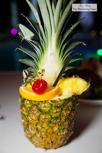 Pineapple juice served in a pineapple