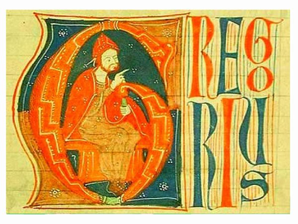 Pope Gregory IX depicted in Medieval in miniature
