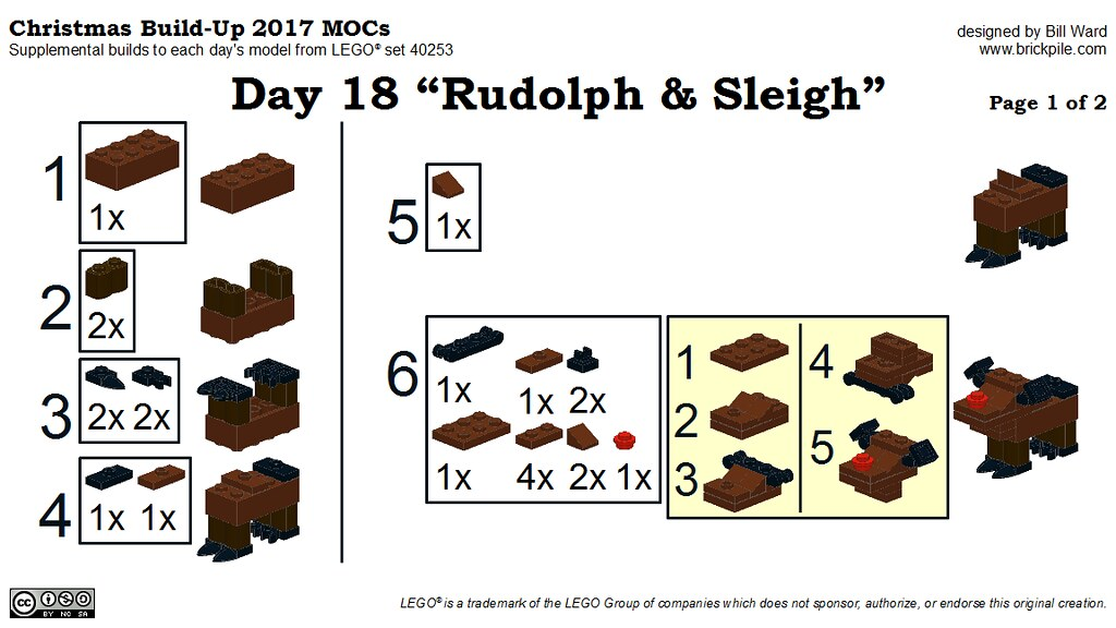 "Christmas Build-Up 2017 Day 18 MOC ""Rudolph & Sleigh"" Instructions p1"