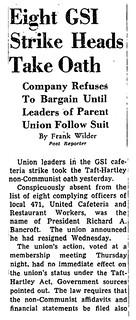 Leaders of striking union take non-communist oath: 1948