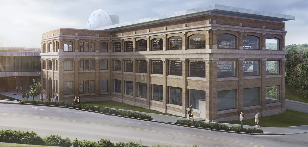 Rendering of the exterior of Rand Hall, capped with a suggestion of a future roof pavilion.