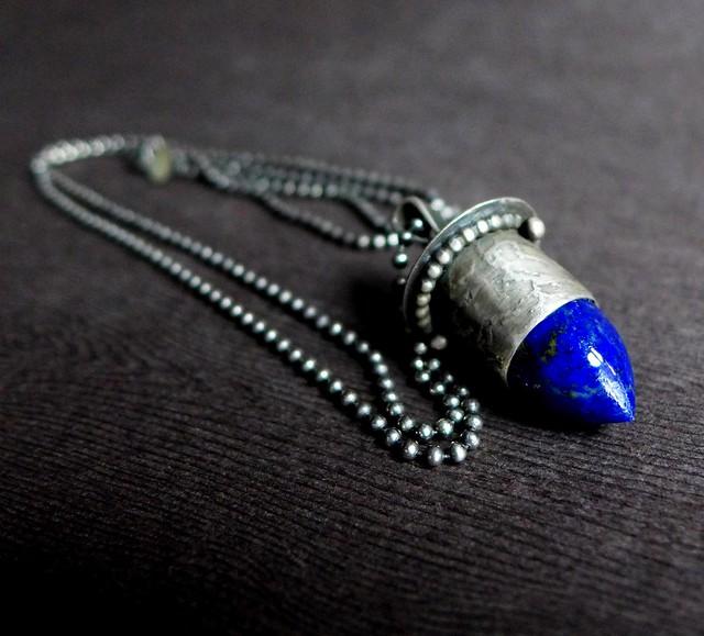 Lapis Lazuli Sterling Silver Bullet Pendant