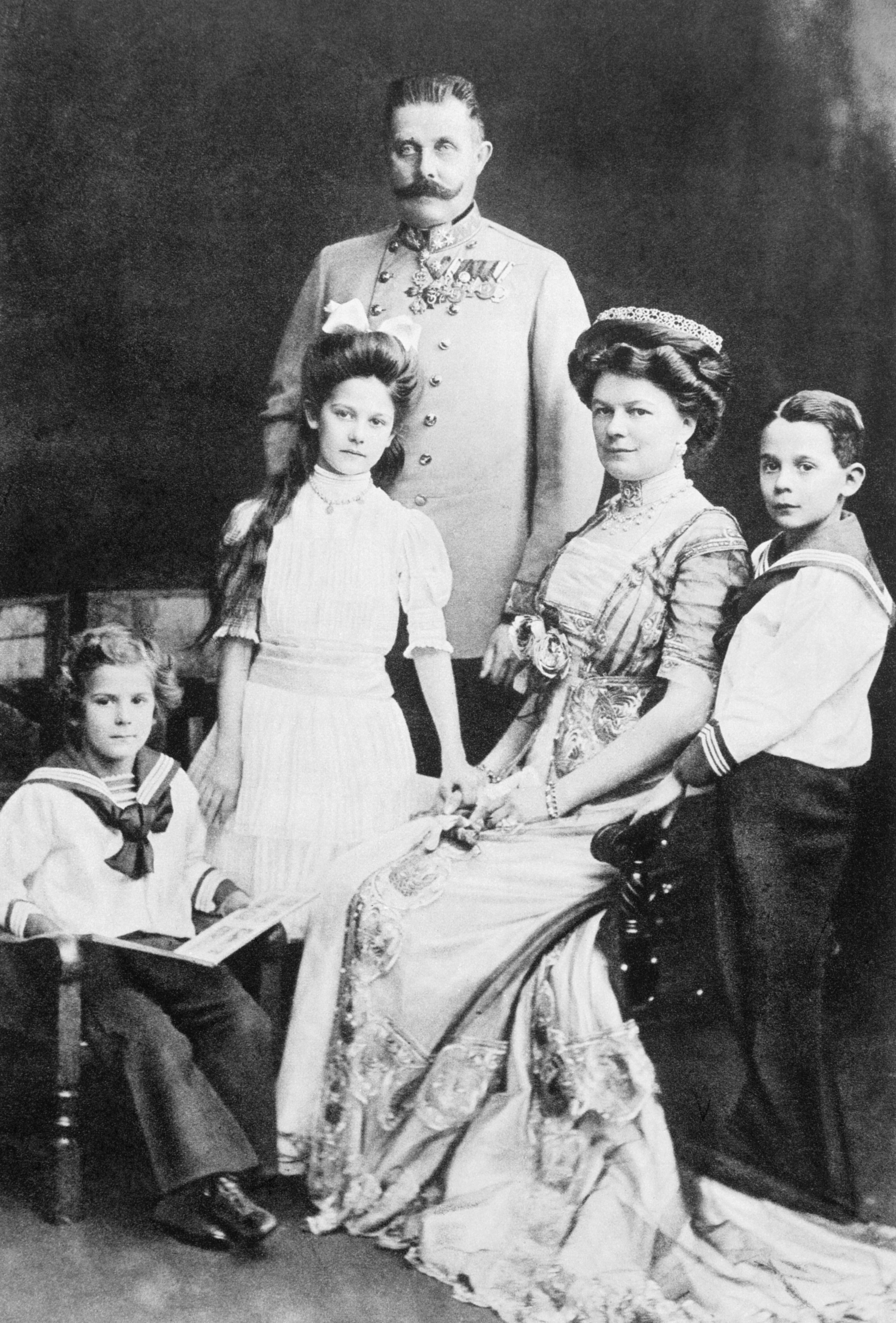 Archduke Franz Ferdinand with his wife Sophie, Duchess of Hohenberg, and their three children (from left), Prince Ernst von Hohenberg, Princess Sophie, and Maximilian, Duke of Hohenberg, in 1910.