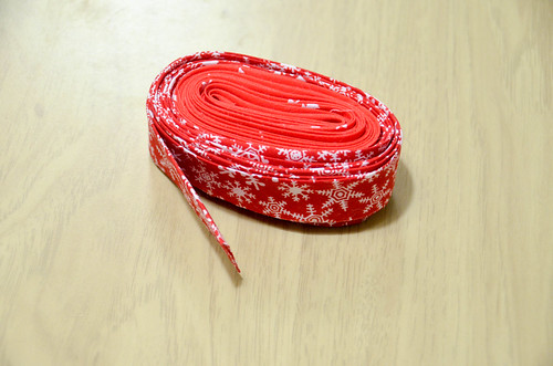 "18. Use 2 fat quarters to make continuous bias binding ~2.5"" wide. Combine with mitered edge."