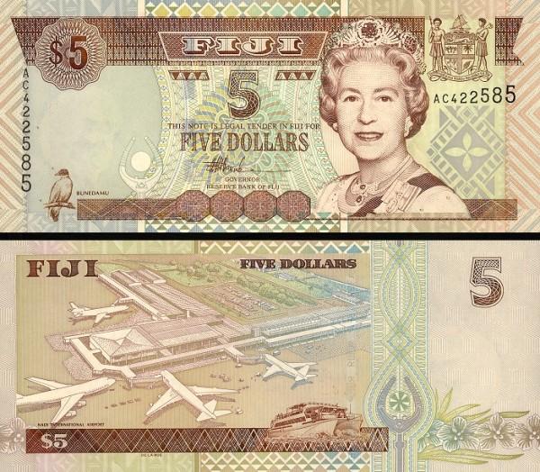 5 fidžijských dolárov Fidži 2002, P105b