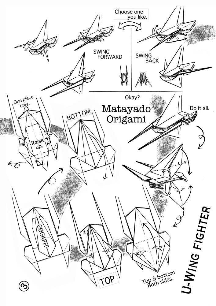 U Wing Fighter Origami Diagram 3