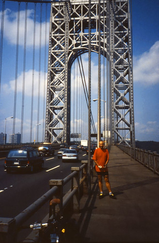 Self on the George Washington Bridge north side - Ektachrome - 1996