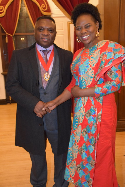DSC_7093 Black British Entertainment Awards BBE Dec 2017 at Porchester Hall London by Jean Gasho Co Founder of BBE with Justina Mutale from Zambia and Councillor David Agbley Luton Deputy Mayor