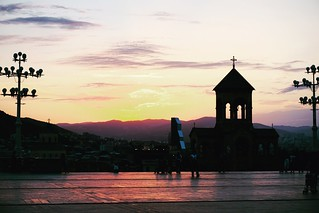 Sunset in TBilisi, View from Holy Trinity Cathedral of Tbilisi