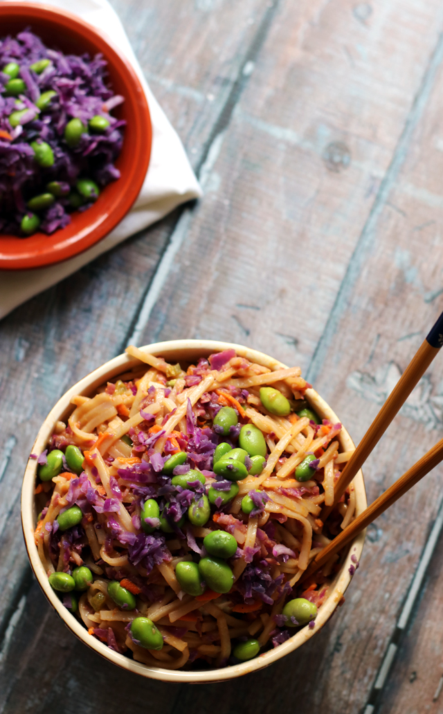 Spicy Peanut Rice Noodle Bowls with Curried Peanut Sauce