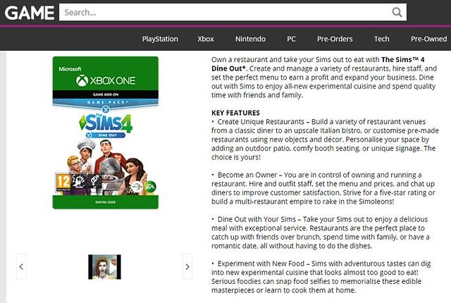 O site Game UK listou o lançamento do pacote de jogo Escapada Gourmet para Xbox One para o dia 09 de janeiro.