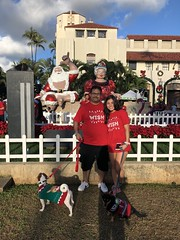 Hawaiian Electric at the Make-A-Wish Hawaii Jingle Rock Run - December 17, 2017: Employees pose for a picture with their dogs in festive attire
