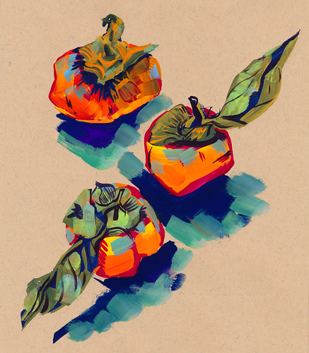 Sketchbook #109: Gouache - Persimmons