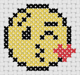 Preview of Free cross stitch patterns for beginners: Kissing Smiley Emoji
