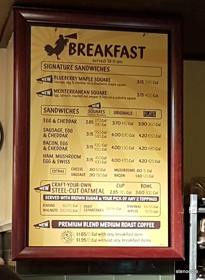 Potbelly breakfast menu and prices